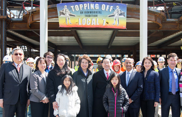 Members of the Chao family at the topping off ceremony of the Ruth Mulan Chu Chao Center