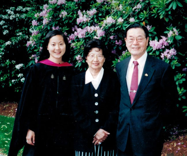 James, Ruth and Angela Chao at graduation ceremony